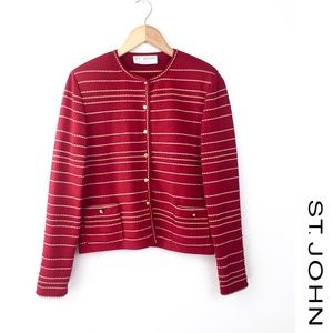 St. John Collection Marie Gray Red knit Cardigan